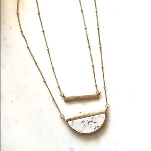 Marble Layer Necklace White Half Moon Pendant NWT